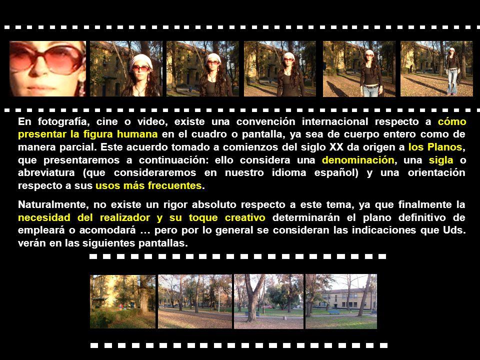 En fotografía, cine o video, existe una convención internacional respecto a cómo presentar la figura humana en el cuadro o pantalla, ya sea de cuerpo