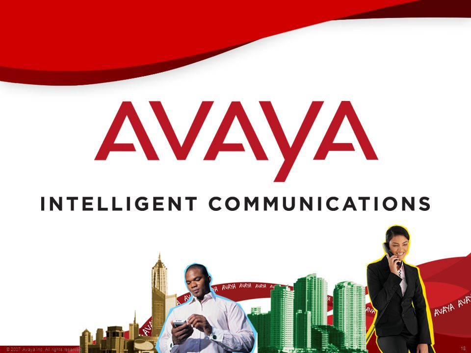 18 © 2007 Avaya Inc. All rights reserved. All other trademarks are property of their respective owners. 18 © 2007 Avaya Inc. All rights reserved.