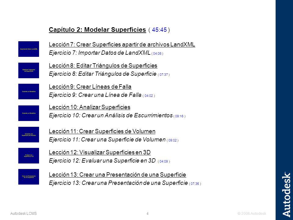 © 2006 Autodesk4 Autodesk LCMS Capítulo 2: Modelar Superficies ( 45:45 ) Lección 7: Crear Superficies apartir de archivos LandXML Ejercicio 7: Importar Datos de LandXML ( 04:06 ) Lección 8: Editar Triángulos de Superficies Ejercicio 8: Editar Triángulos de Superficie ( 07:37 ) Lección 9: Crear Líneas de Falla Ejercicio 9: Crear una Línea de Falla ( 04:02 ) Lección 10: Analizar Superficies Ejercicio 10: Crear un Análisis de Escurrimientos ( 09:16 ) Lección 11: Crear Superficies de Volumen Ejercicio 11: Crear una Superficie de Volumen ( 09:02 ) Lección 12: Visualizar Superficies en 3D Ejercicio 12: Evaluar una Superficie en 3D ( 04:09 ) Lección 13: Crear una Presentación de una Superficie Ejercicio 13: Crear una Presentación de una Superficie ( 07:35 )