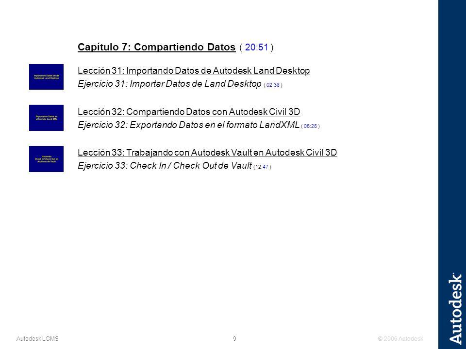 © 2006 Autodesk9 Autodesk LCMS Capítulo 7: Compartiendo Datos ( 20:51 ) Lección 31: Importando Datos de Autodesk Land Desktop Ejercicio 31: Importar D