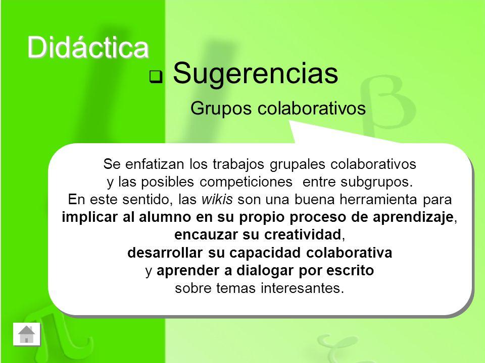 Didáctica Sugerencias Grupos colaborativos Se enfatizan los trabajos grupales colaborativos y las posibles competiciones entre subgrupos. En este sent