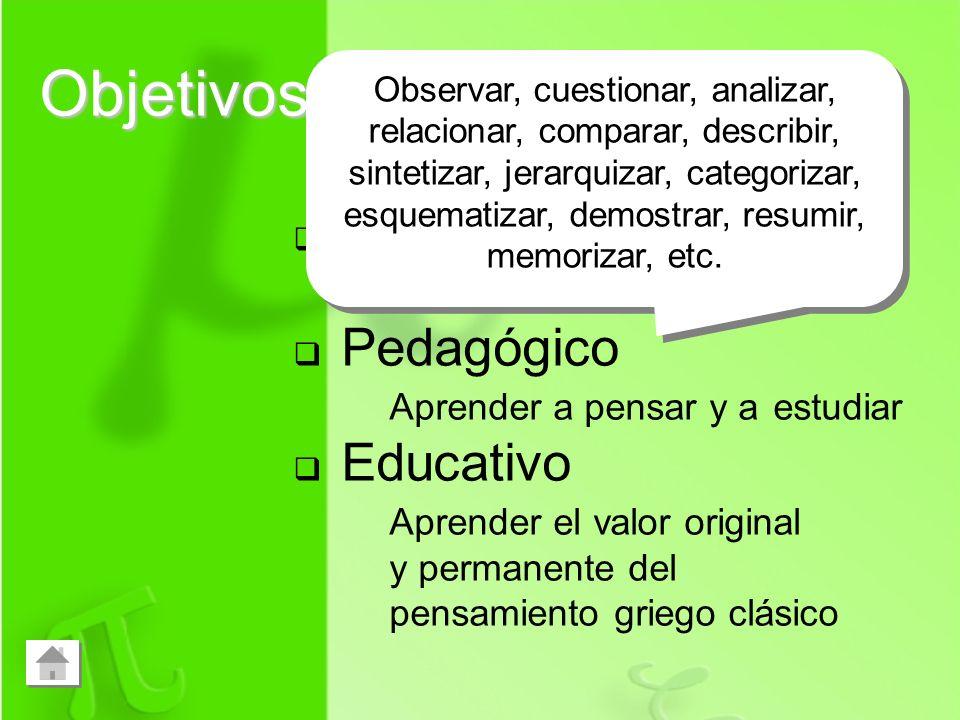 Objetivos Curricular Aprender filosofía Pedagógico Aprender a pensar y a estudiar Educativo Aprender el valor original y permanente del pensamiento gr