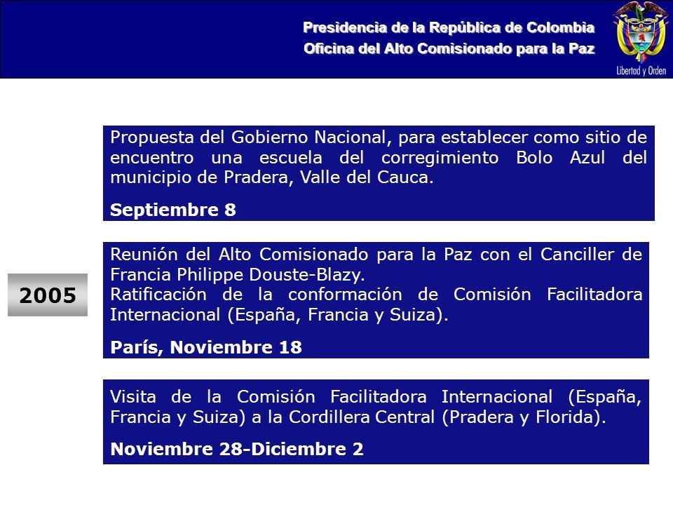 Presidencia de la República de Colombia Oficina del Alto Comisionado para la Paz 2005 Propuesta del Gobierno Nacional, para establecer como sitio de encuentro una escuela del corregimiento Bolo Azul del municipio de Pradera, Valle del Cauca.