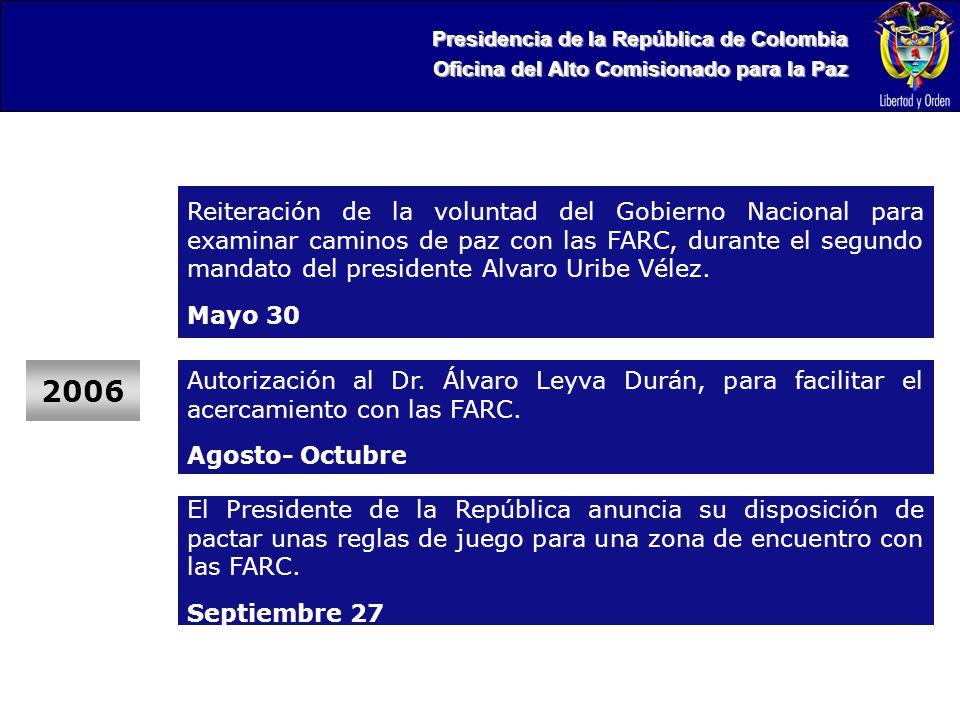 Presidencia de la República de Colombia Oficina del Alto Comisionado para la Paz 2006 Reiteración de la voluntad del Gobierno Nacional para examinar caminos de paz con las FARC, durante el segundo mandato del presidente Alvaro Uribe Vélez.