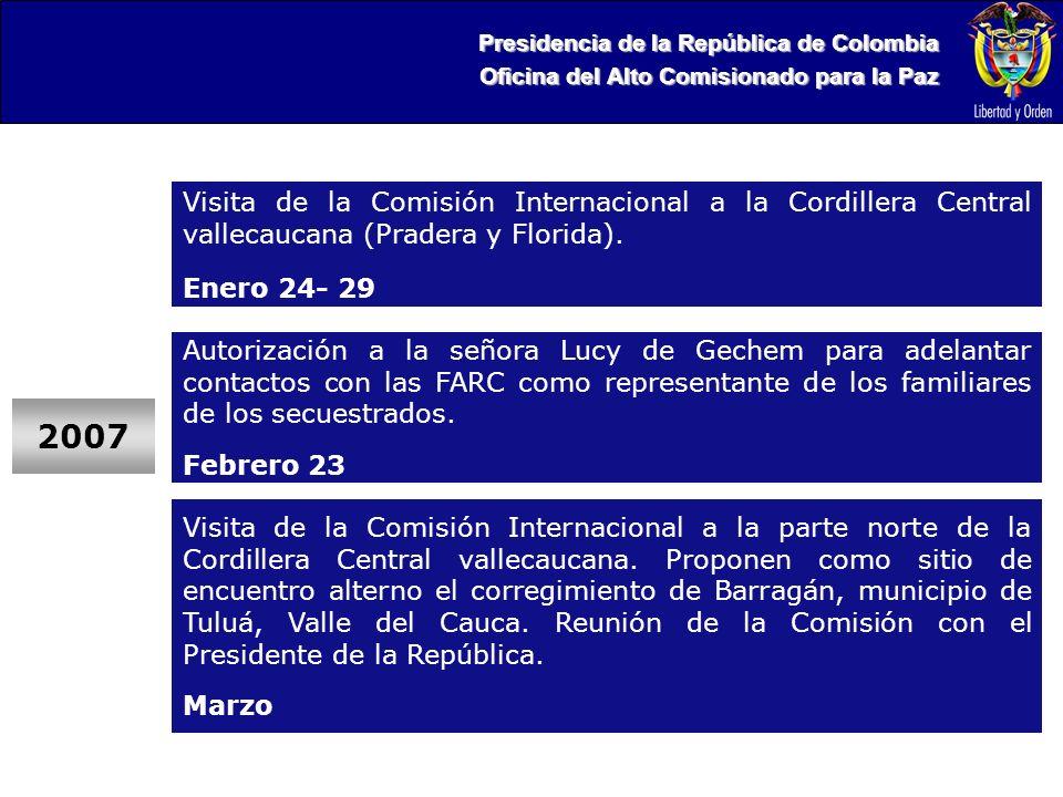 Presidencia de la República de Colombia Oficina del Alto Comisionado para la Paz Visita de la Comisión Internacional a la Cordillera Central vallecaucana (Pradera y Florida).