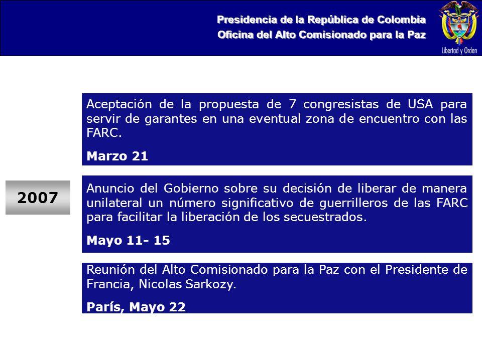 Presidencia de la República de Colombia Oficina del Alto Comisionado para la Paz 2007 Aceptación de la propuesta de 7 congresistas de USA para servir de garantes en una eventual zona de encuentro con las FARC.