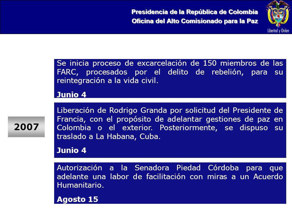 Presidencia de la República de Colombia Oficina del Alto Comisionado para la Paz 2007 Liberación de Rodrigo Granda por solicitud del Presidente de Francia, con el propósito de adelantar gestiones de paz en Colombia o el exterior.
