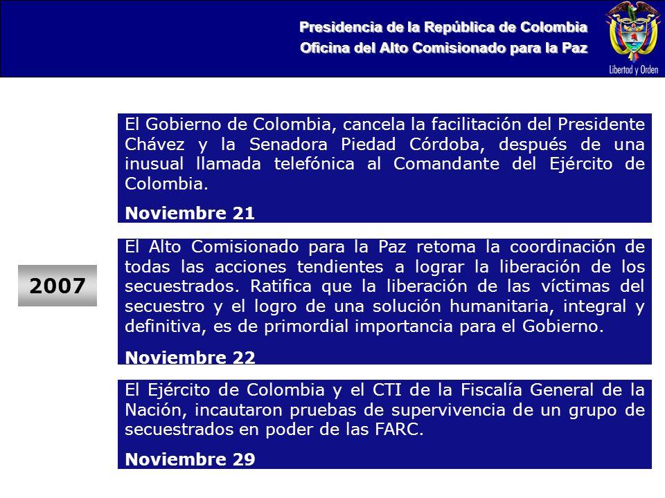 Presidencia de la República de Colombia Oficina del Alto Comisionado para la Paz 2007 El Gobierno de Colombia, cancela la facilitación del Presidente Chávez y la Senadora Piedad Córdoba, después de una inusual llamada telefónica al Comandante del Ejército de Colombia.