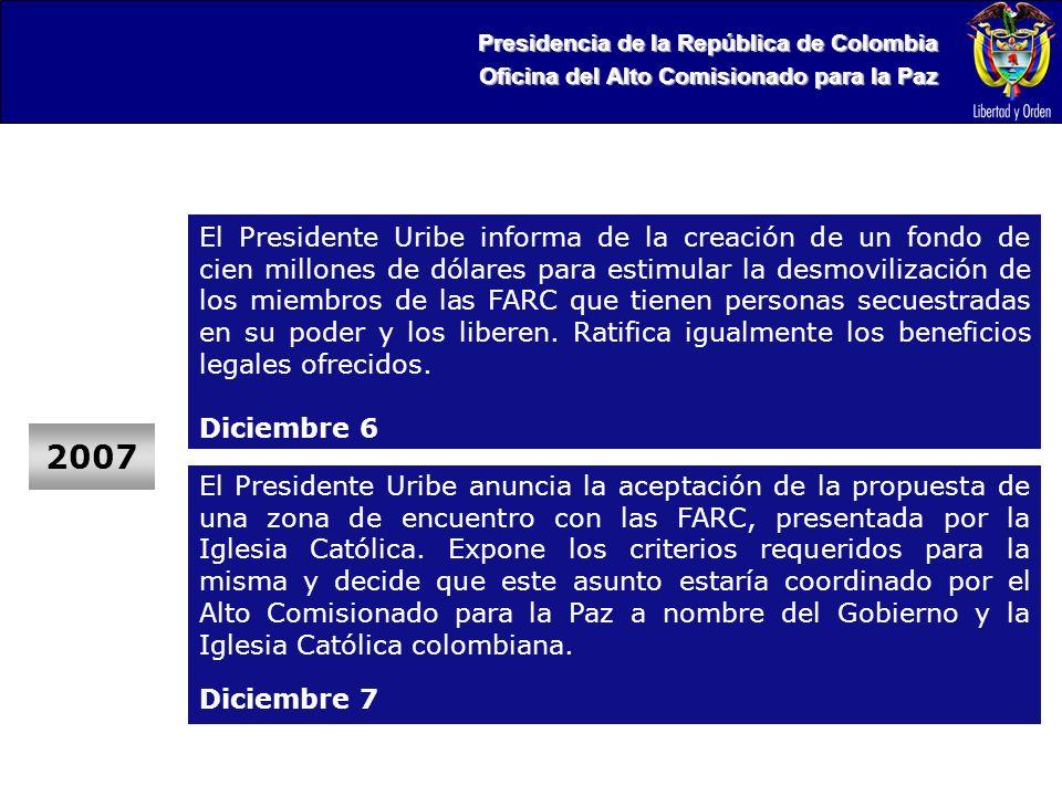 Presidencia de la República de Colombia Oficina del Alto Comisionado para la Paz 2007 El Presidente Uribe anuncia la aceptación de la propuesta de una zona de encuentro con las FARC, presentada por la Iglesia Católica.