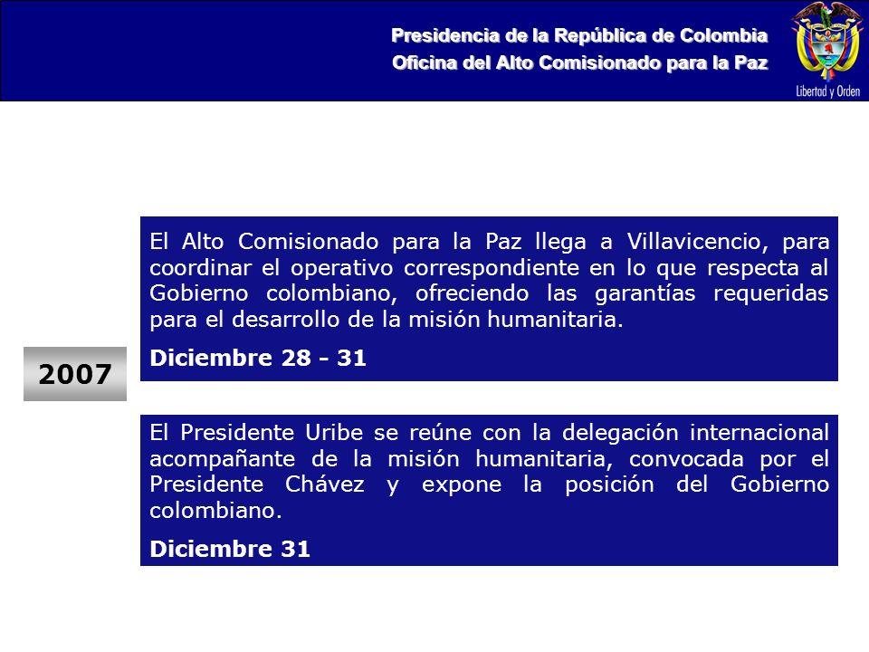 Presidencia de la República de Colombia Oficina del Alto Comisionado para la Paz 2007 El Alto Comisionado para la Paz llega a Villavicencio, para coordinar el operativo correspondiente en lo que respecta al Gobierno colombiano, ofreciendo las garantías requeridas para el desarrollo de la misión humanitaria.