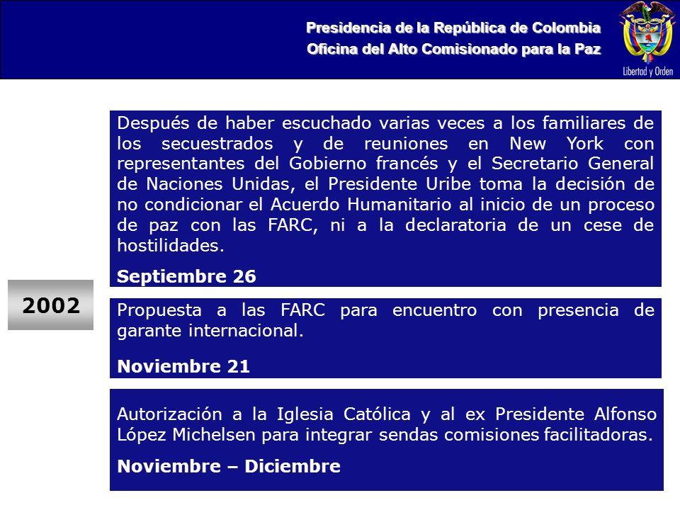 Presidencia de la República de Colombia Oficina del Alto Comisionado para la Paz Después de haber escuchado varias veces a los familiares de los secuestrados y de reuniones en New York con representantes del Gobierno francés y el Secretario General de Naciones Unidas, el Presidente Uribe toma la decisión de no condicionar el Acuerdo Humanitario al inicio de un proceso de paz con las FARC, ni a la declaratoria de un cese de hostilidades.