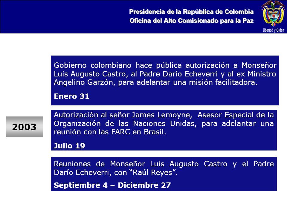 Presidencia de la República de Colombia Oficina del Alto Comisionado para la Paz Gobierno colombiano hace pública autorización a Monseñor Luís Augusto Castro, al Padre Darío Echeverri y al ex Ministro Angelino Garzón, para adelantar una misión facilitadora.