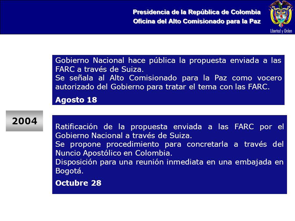 Presidencia de la República de Colombia Oficina del Alto Comisionado para la Paz 2004 Gobierno Nacional hace pública la propuesta enviada a las FARC a través de Suiza.