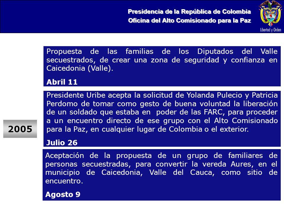 Presidencia de la República de Colombia Oficina del Alto Comisionado para la Paz Aceptación de la propuesta de un grupo de familiares de personas secuestradas, para convertir la vereda Aures, en el municipio de Caicedonia, Valle del Cauca, como sitio de encuentro.