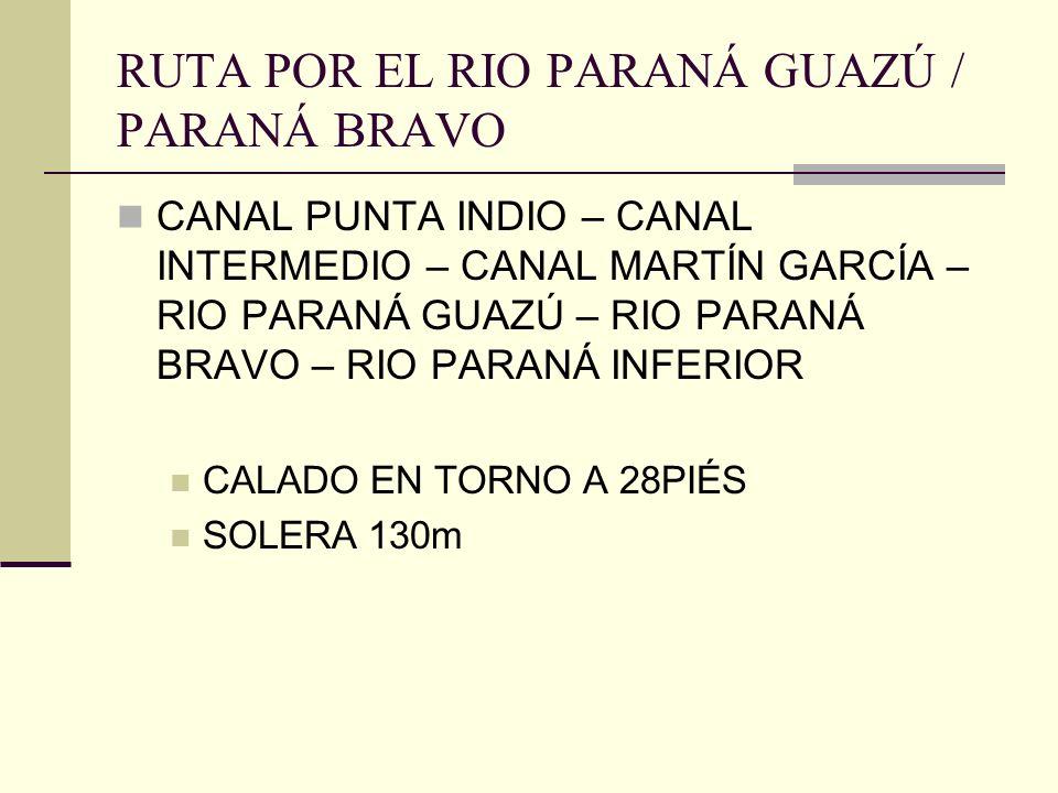 RUTA POR EL RIO PARANÁ GUAZÚ / PARANÁ BRAVO CANAL PUNTA INDIO – CANAL INTERMEDIO – CANAL MARTÍN GARCÍA – RIO PARANÁ GUAZÚ – RIO PARANÁ BRAVO – RIO PARANÁ INFERIOR CALADO EN TORNO A 28PIÉS SOLERA 130m