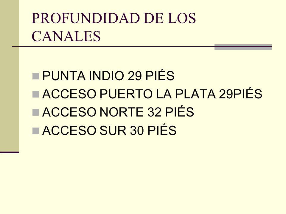 PROFUNDIDAD DE LOS CANALES PUNTA INDIO 29 PIÉS ACCESO PUERTO LA PLATA 29PIÉS ACCESO NORTE 32 PIÉS ACCESO SUR 30 PIÉS