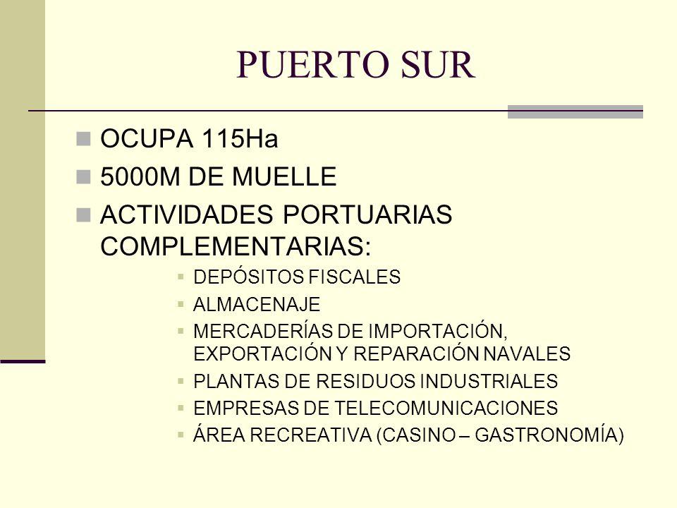 PUERTO SUR OCUPA 115Ha 5000M DE MUELLE ACTIVIDADES PORTUARIAS COMPLEMENTARIAS: DEPÓSITOS FISCALES ALMACENAJE MERCADERÍAS DE IMPORTACIÓN, EXPORTACIÓN Y REPARACIÓN NAVALES PLANTAS DE RESIDUOS INDUSTRIALES EMPRESAS DE TELECOMUNICACIONES ÁREA RECREATIVA (CASINO – GASTRONOMÍA)
