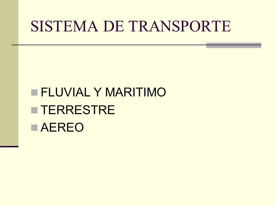 SISTEMA DE TRANSPORTE FLUVIAL Y MARITIMO TERRESTRE AEREO