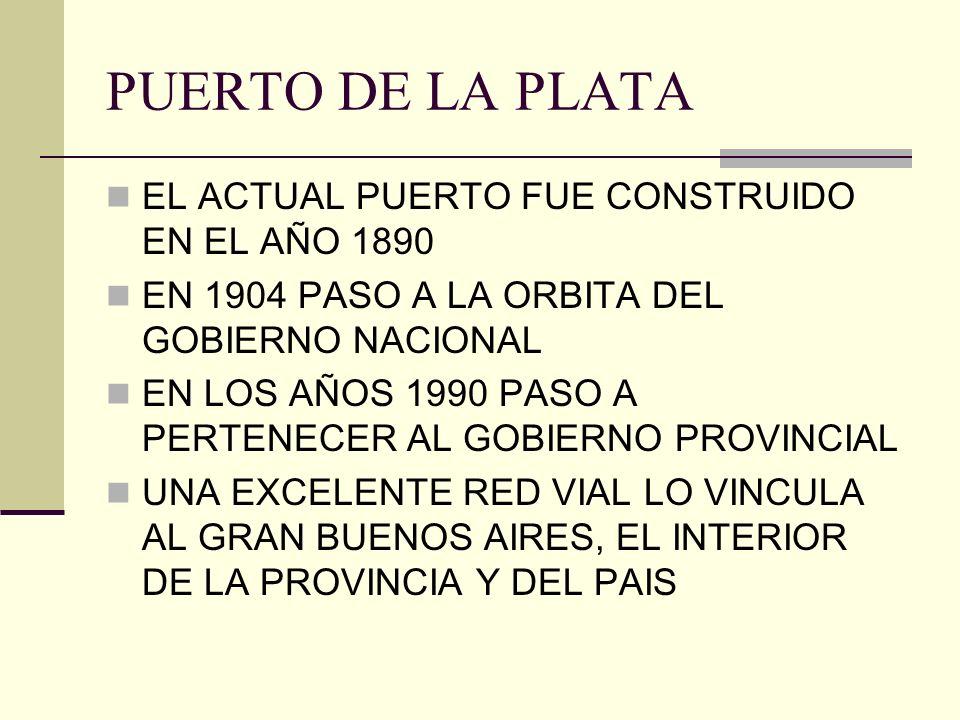 PUERTO DE LA PLATA EL ACTUAL PUERTO FUE CONSTRUIDO EN EL AÑO 1890 EN 1904 PASO A LA ORBITA DEL GOBIERNO NACIONAL EN LOS AÑOS 1990 PASO A PERTENECER AL GOBIERNO PROVINCIAL UNA EXCELENTE RED VIAL LO VINCULA AL GRAN BUENOS AIRES, EL INTERIOR DE LA PROVINCIA Y DEL PAIS