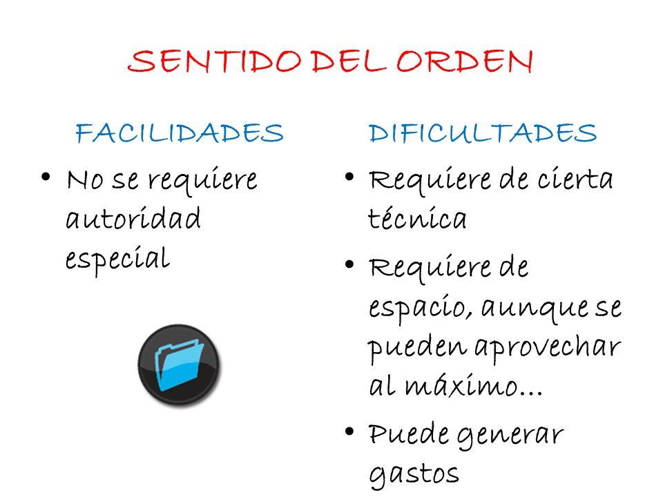 SENTIDO DEL ORDEN No se requiere autoridad especial DIFICULTADES Requiere de cierta técnica Requiere de espacio, aunque se pueden aprovechar al máximo