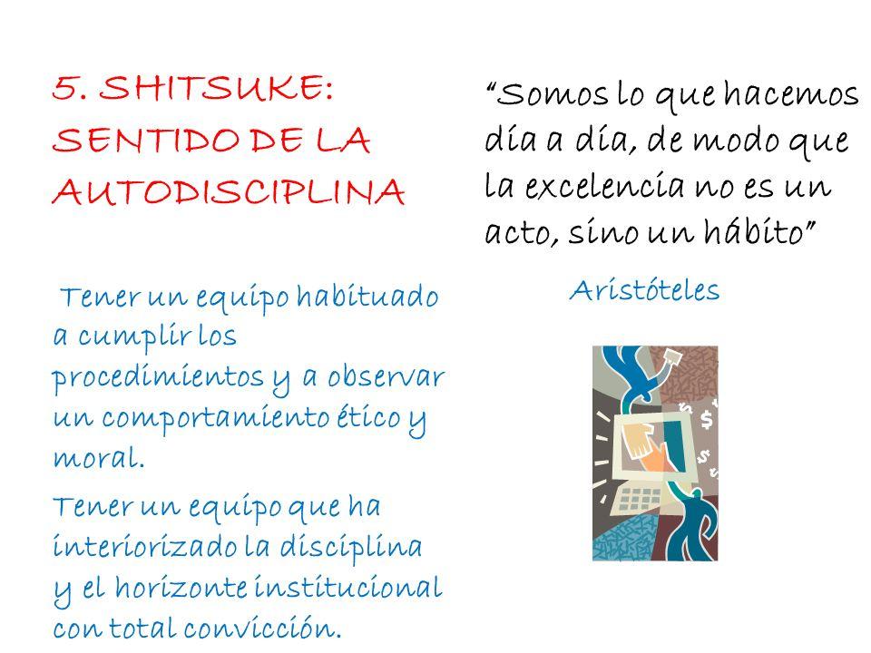 5. SHITSUKE: SENTIDO DE LA AUTODISCIPLINA Somos lo que hacemos día a día, de modo que la excelencia no es un acto, sino un hábito Aristóteles Tener un
