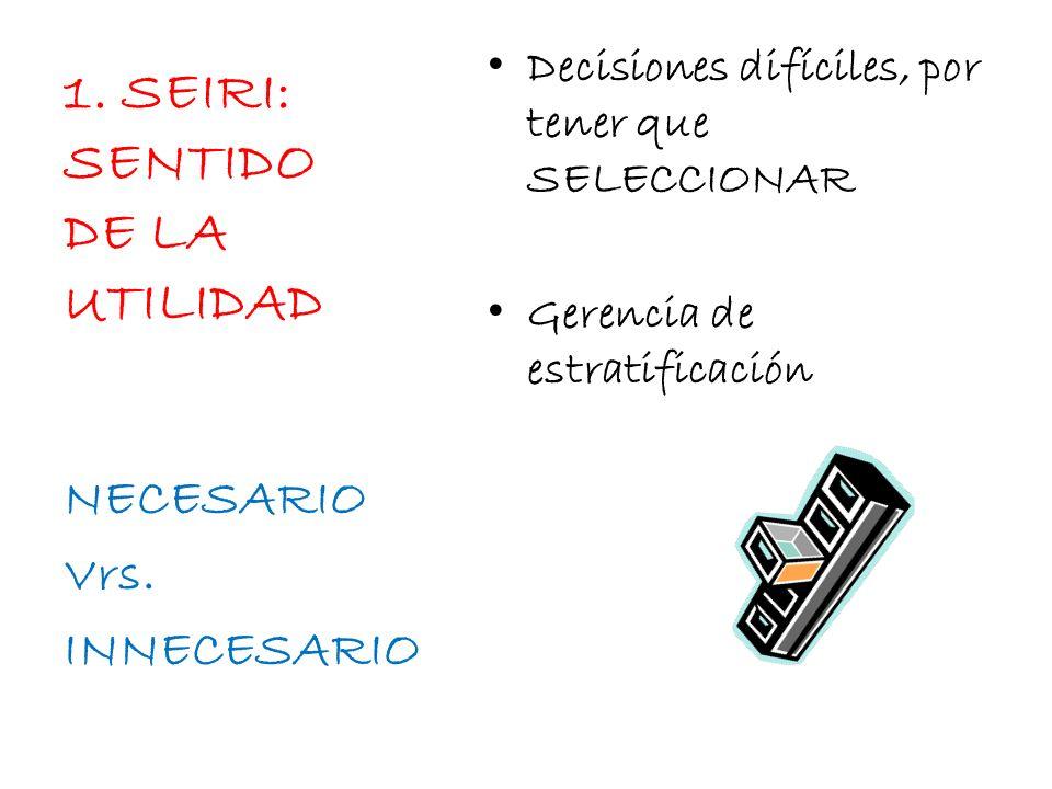 1. SEIRI: SENTIDO DE LA UTILIDAD NECESARIO Vrs. INNECESARIO Decisiones difíciles, por tener que SELECCIONAR Gerencia de estratificación