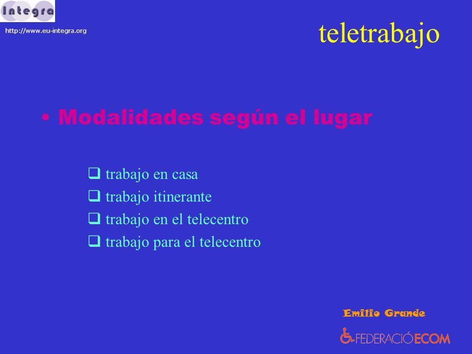 teletrabajo Modalidades según el lugar trabajo en casa trabajo itinerante trabajo en el telecentro trabajo para el telecentro Emilio Grande http://www.eu-integra.org