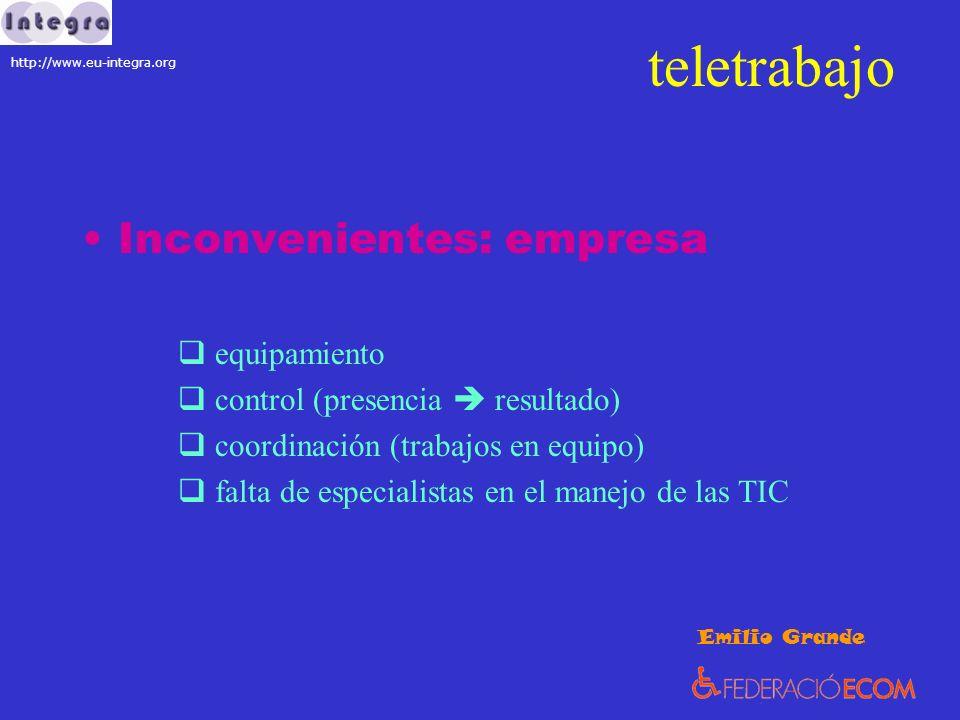 teletrabajo Inconvenientes: empresa equipamiento control (presencia resultado) coordinación (trabajos en equipo) falta de especialistas en el manejo d