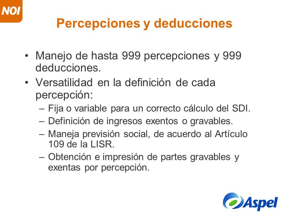 Percepciones y deducciones Manejo de hasta 999 percepciones y 999 deducciones. Versatilidad en la definición de cada percepción: –Fija o variable para