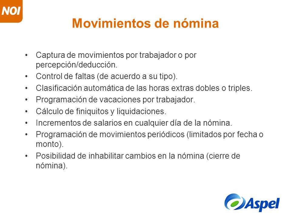 Movimientos de nómina Captura de movimientos por trabajador o por percepción/deducción. Control de faltas (de acuerdo a su tipo). Clasificación automá