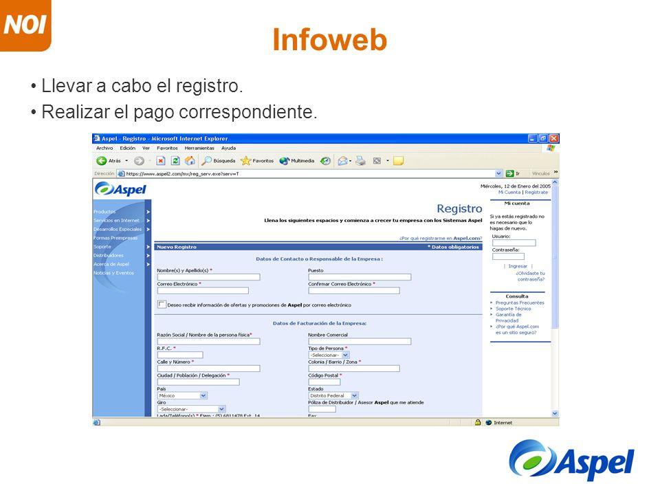 Llevar a cabo el registro. Realizar el pago correspondiente. Infoweb