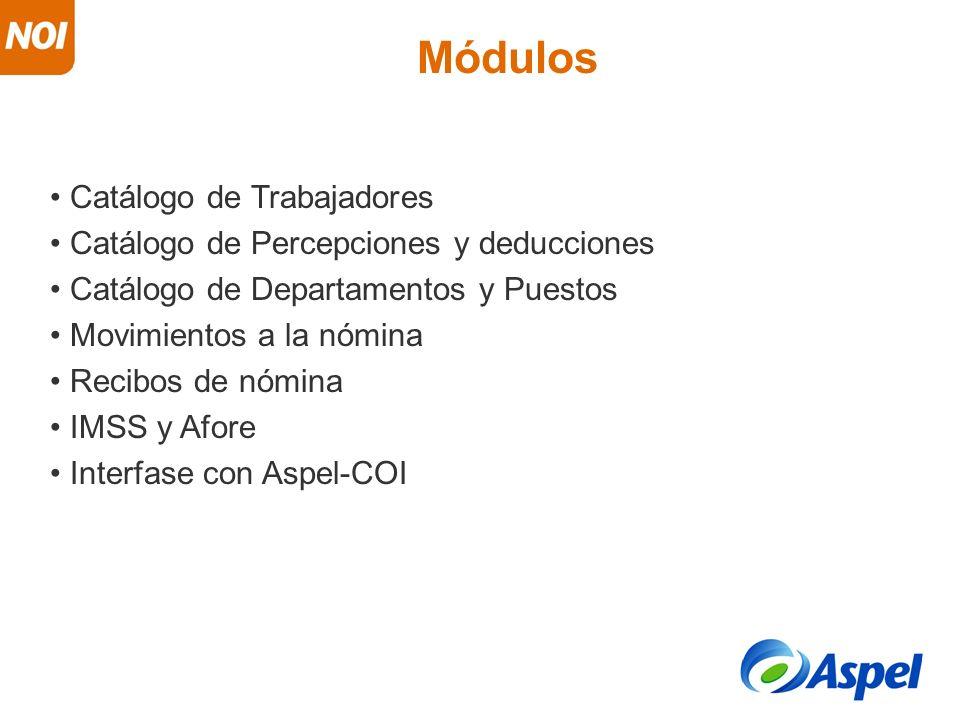 Catálogo de Trabajadores Catálogo de Percepciones y deducciones Catálogo de Departamentos y Puestos Movimientos a la nómina Recibos de nómina IMSS y A