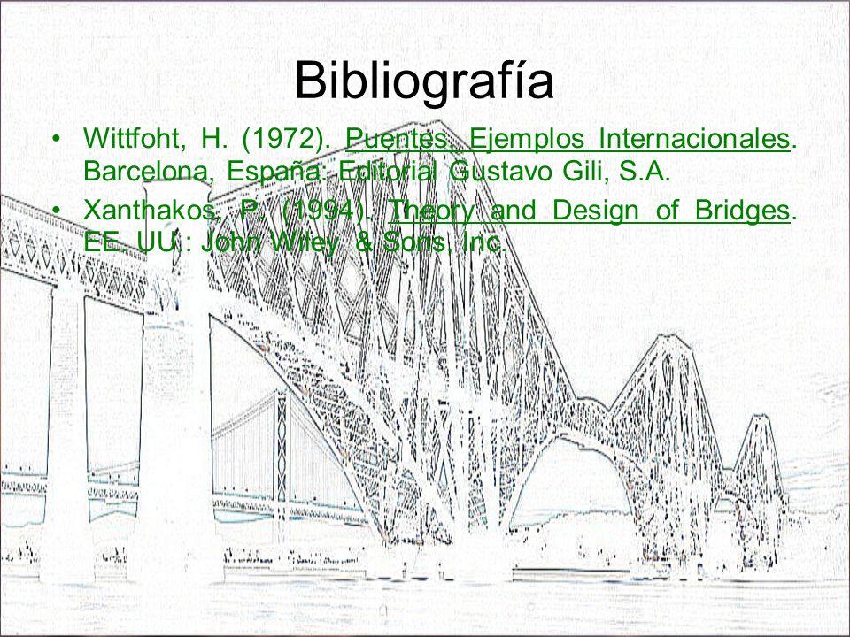 Bibliografía Wittfoht, H. (1972). Puentes, Ejemplos Internacionales. Barcelona, España: Editorial Gustavo Gili, S.A. Xanthakos, P. (1994). Theory and