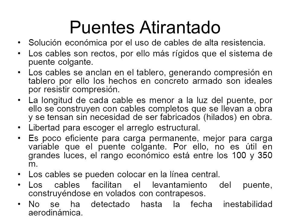 Puentes Atirantado Solución económica por el uso de cables de alta resistencia. Los cables son rectos, por ello más rígidos que el sistema de puente c