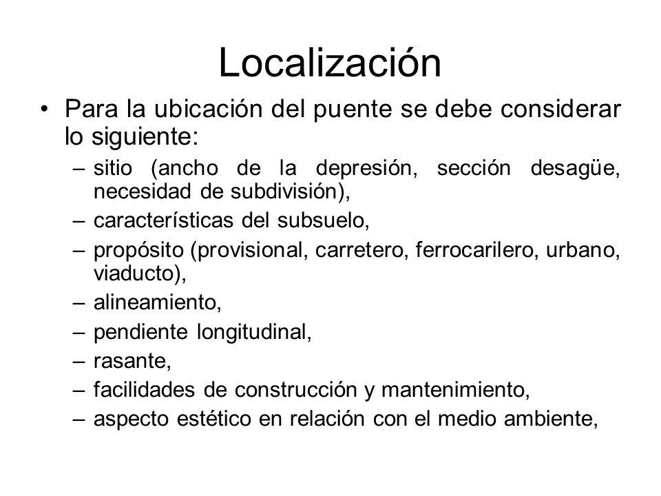 Localización Para la ubicación del puente se debe considerar lo siguiente: –sitio (ancho de la depresión, sección desagüe, necesidad de subdivisión),