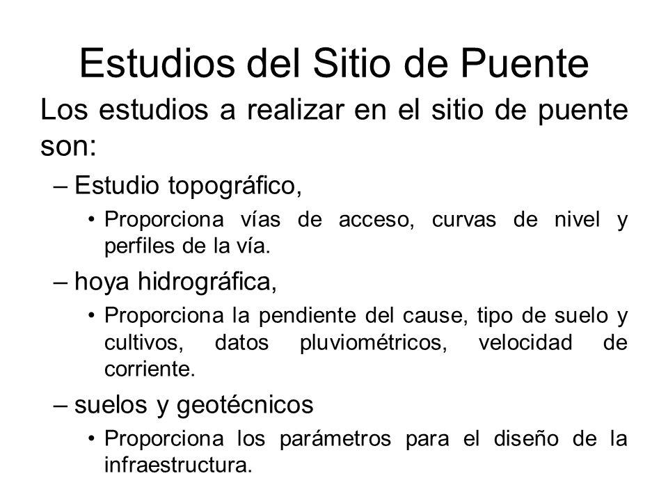Estudios del Sitio de Puente Los estudios a realizar en el sitio de puente son: –Estudio topográfico, Proporciona vías de acceso, curvas de nivel y pe