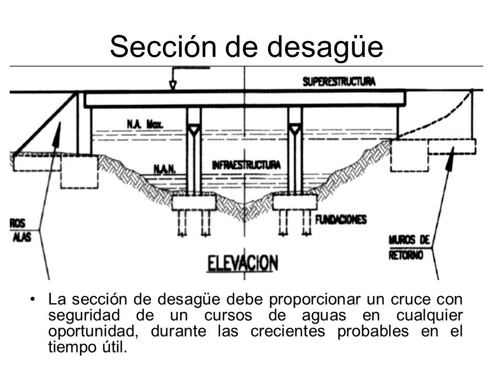 Sección de desagüe La sección de desagüe debe proporcionar un cruce con seguridad de un cursos de aguas en cualquier oportunidad, durante las crecient