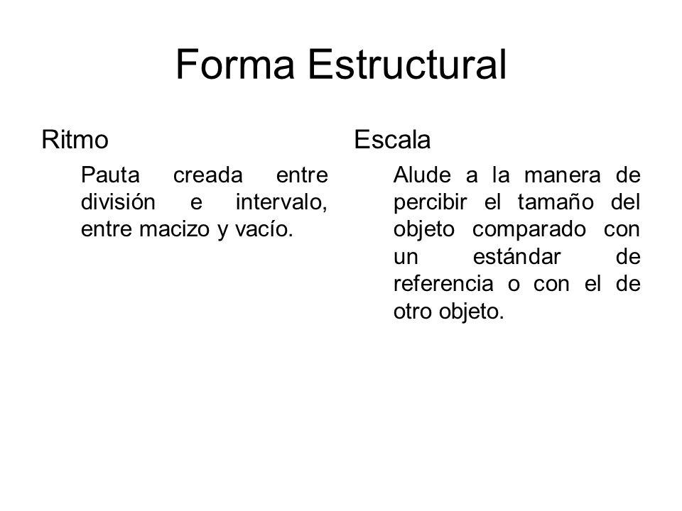 Forma Estructural Ritmo Pauta creada entre división e intervalo, entre macizo y vacío. Escala Alude a la manera de percibir el tamaño del objeto compa