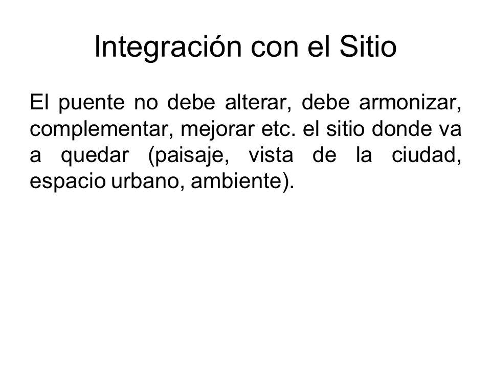Integración con el Sitio El puente no debe alterar, debe armonizar, complementar, mejorar etc. el sitio donde va a quedar (paisaje, vista de la ciudad