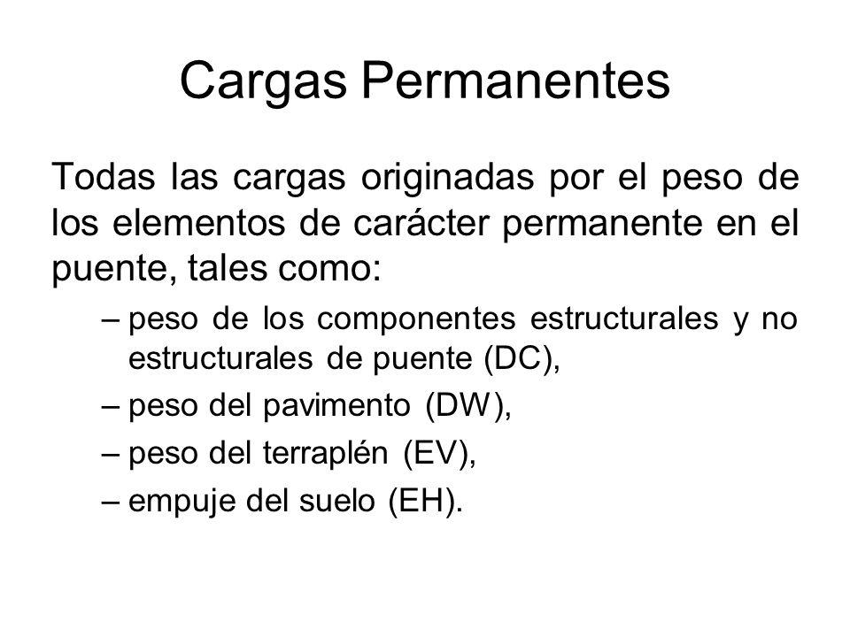 Cargas Permanentes Todas las cargas originadas por el peso de los elementos de carácter permanente en el puente, tales como: –peso de los componentes