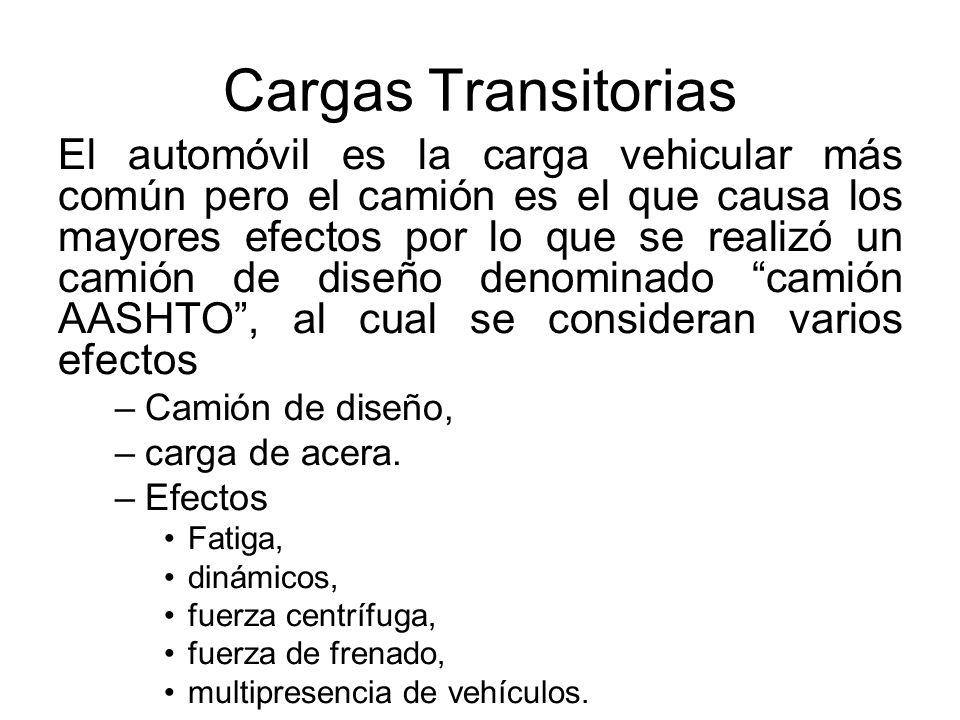 Cargas Transitorias El automóvil es la carga vehicular más común pero el camión es el que causa los mayores efectos por lo que se realizó un camión de