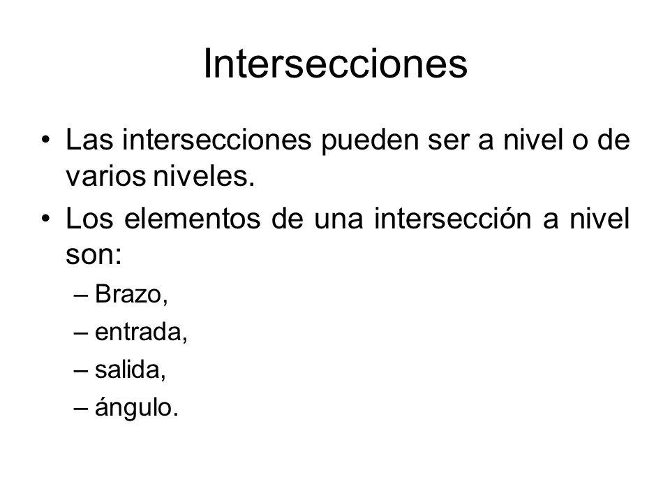 Intersecciones Las intersecciones pueden ser a nivel o de varios niveles. Los elementos de una intersección a nivel son: –Brazo, –entrada, –salida, –á