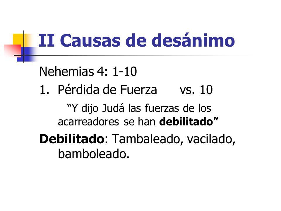 II Causas de desánimo Nehemias 4: 1-10 1. Pérdida de Fuerzavs. 10 Y dijo Judá las fuerzas de los acarreadores se han debilitado Debilitado: Tambaleado