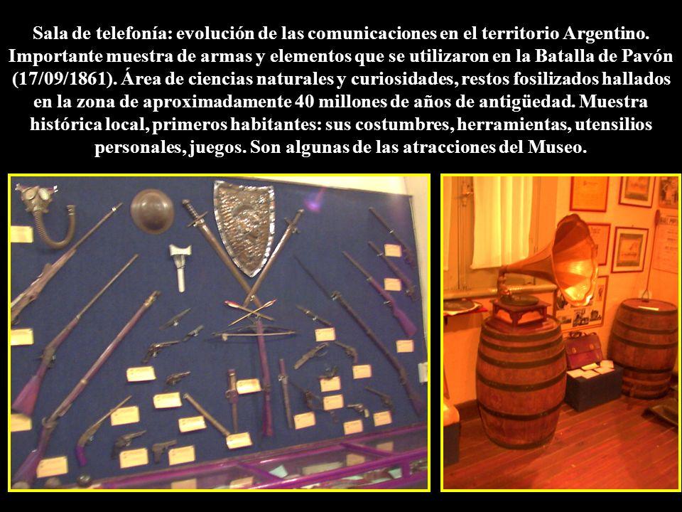 Sala de telefonía: evolución de las comunicaciones en el territorio Argentino. Importante muestra de armas y elementos que se utilizaron en la Batalla