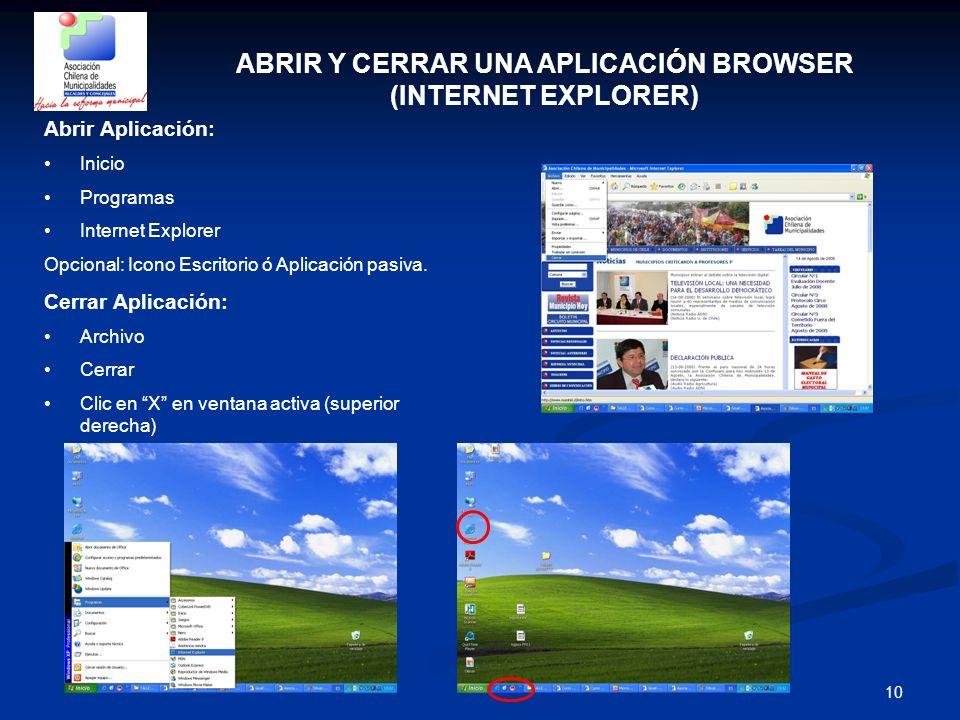 10 ABRIR Y CERRAR UNA APLICACIÓN BROWSER (INTERNET EXPLORER) Abrir Aplicación: Inicio Programas Internet Explorer Opcional: Icono Escritorio ó Aplicac