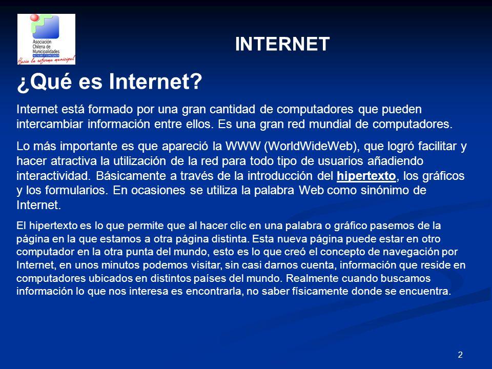 2 INTERNET ¿Qué es Internet? Internet está formado por una gran cantidad de computadores que pueden intercambiar información entre ellos. Es una gran