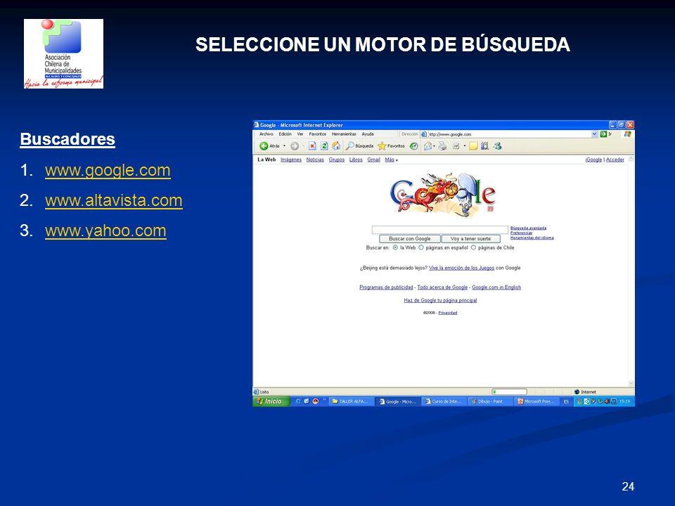 24 SELECCIONE UN MOTOR DE BÚSQUEDA Buscadores 1.www.google.comwww.google.com 2.www.altavista.comwww.altavista.com 3.www.yahoo.comwww.yahoo.com