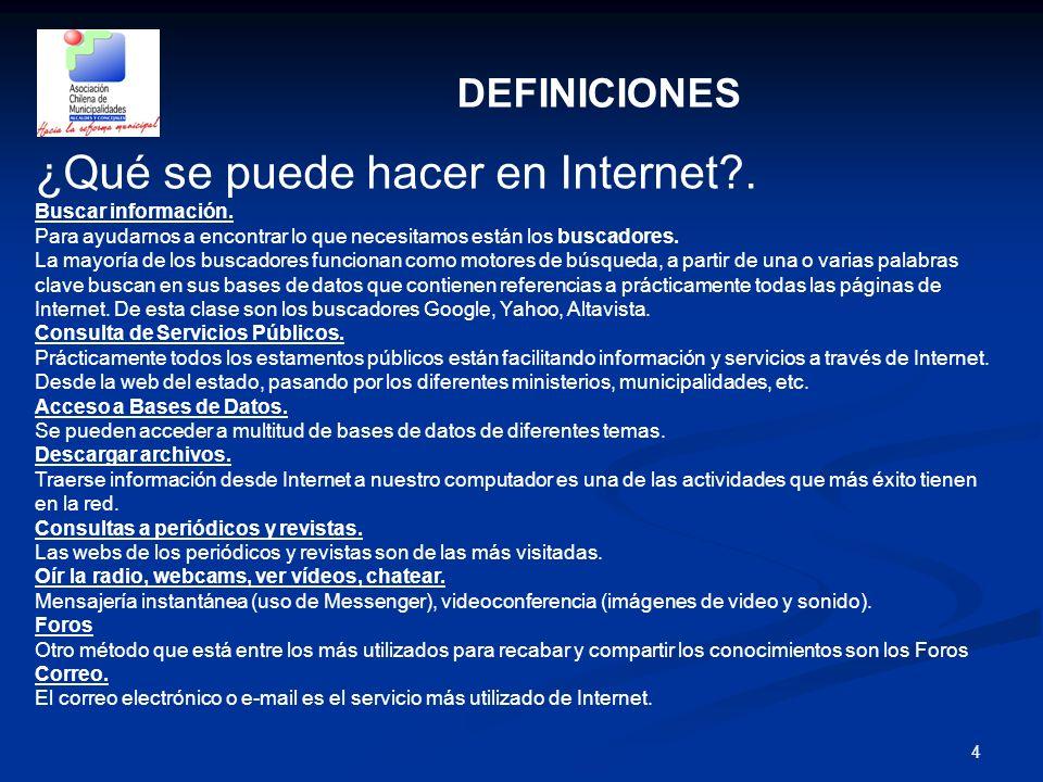 4 DEFINICIONES ¿Qué se puede hacer en Internet?. Buscar información. Para ayudarnos a encontrar lo que necesitamos están los buscadores. La mayoría de