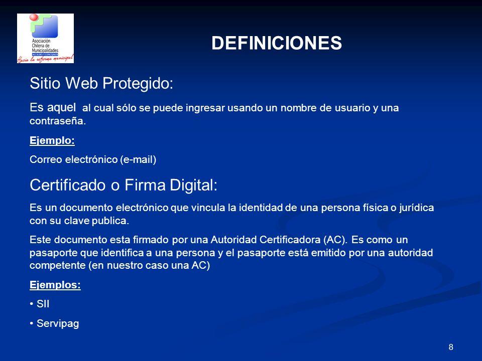 8 DEFINICIONES Sitio Web Protegido: Es aquel al cual sólo se puede ingresar usando un nombre de usuario y una contraseña. Ejemplo: Correo electrónico