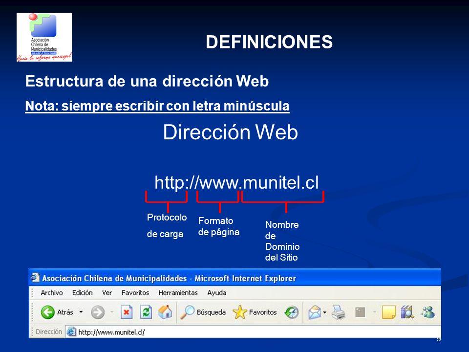 9 DEFINICIONES Estructura de una dirección Web Nota: siempre escribir con letra minúscula Dirección Web http://www.munitel.cl Protocolo de carga Forma